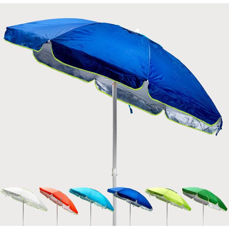 Parasol de plage 200 cm anti-vent protection uv Sardegna | Bleu