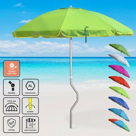 Parasol de plage aluminium léger visser protection UV GiraFacile 220 cm EOLO