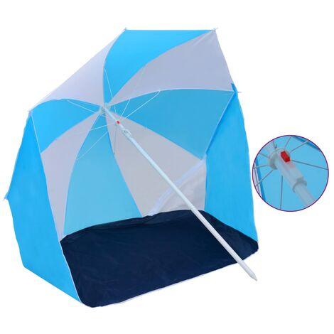Parasol de plage Bleu et blanc 180 cm Tissu