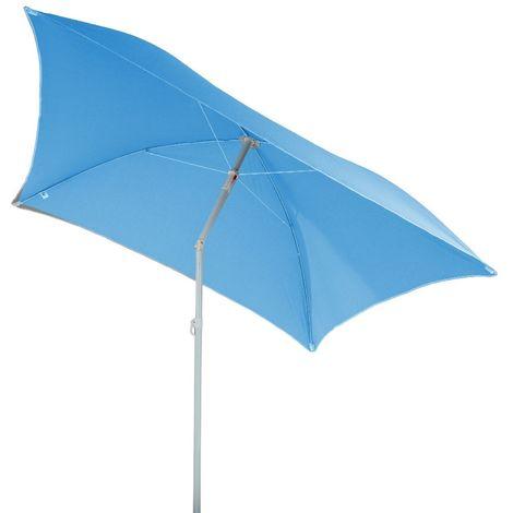 Parasol de plage carré Hélenie - L. 180 x l. 180 cm - Bleu clair - Bleu clair