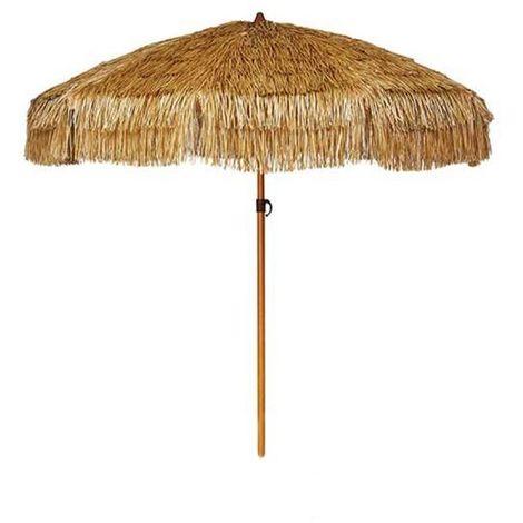 Parasol de plage en paille Palloza Ezpeleta - Marron - Extérieur - Régulateur de hauteur