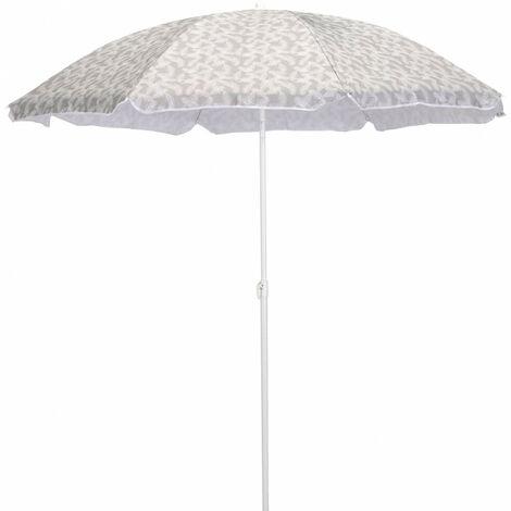 Parasol de plage inclinable acier et toile motif pin alep - SOLI 0385 - Blanc