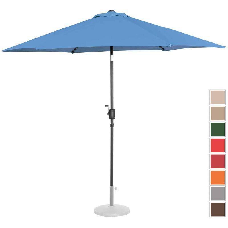 Parasol De Terrasse Droit Inclinable Manivelle Bleu Hexag. 270 Cm Acier