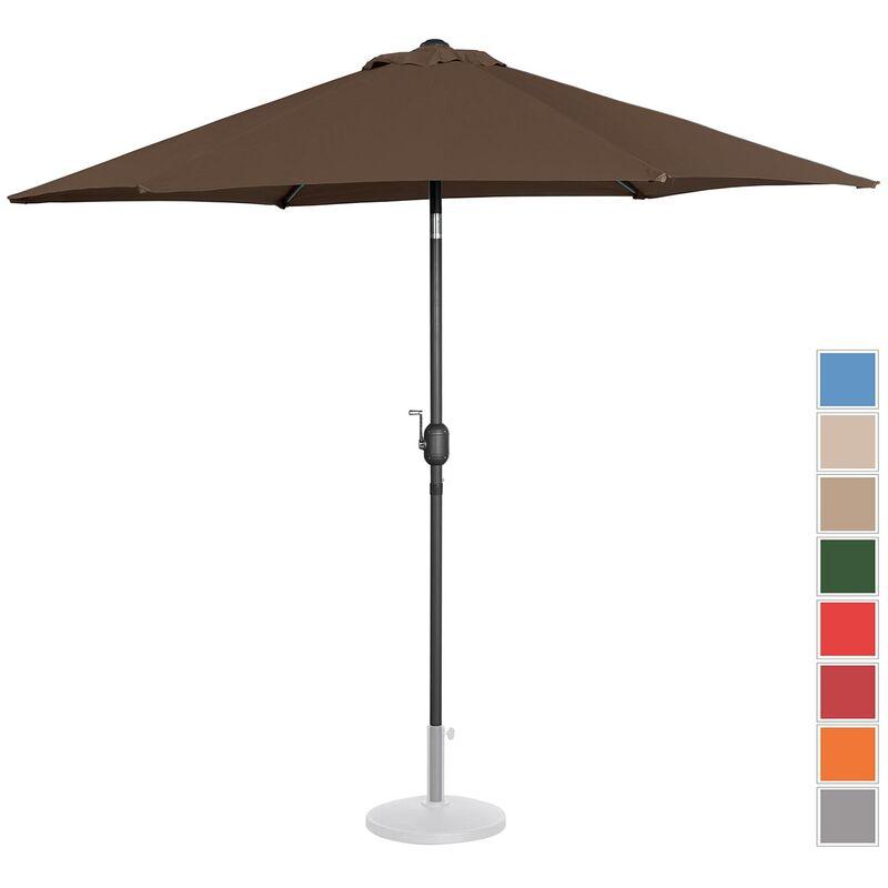 Parasol De Terrasse Droit Inclinable Manivelle Marron Hexag. 270 Cm Aci