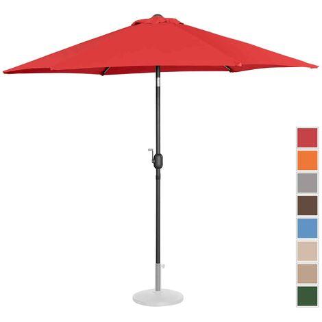 Parasol De Terrasse Droit Inclinable Manivelle Rouge Hex Ø 270 Cm Acier Alu
