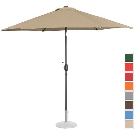 Parasol De Terrasse Droit Inclinable Manivelle Taupe Hex Ø 270 Cm Acier Alu