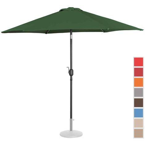 Parasol De Terrasse Droit Inclinable Manivelle Vert Hex Ø 270 Cm Acier Alu