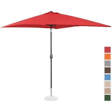 Parasol De Terrasse Jardin Droit Manivelle Rouge 200X300 Cm Spf 50+ Inclinable