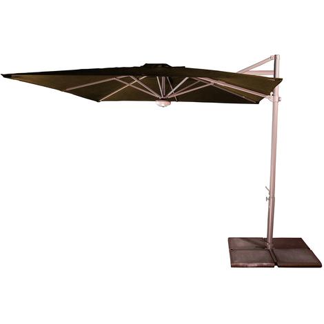 Parasol décentré Cielo Taupe anti-UV inclinable carré, 260 x 260 cm