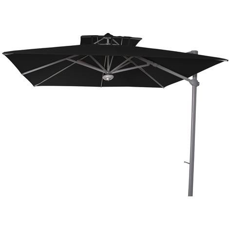 Parasol décentré Laterna Noir anti-UV inclinable carré 300x300cm