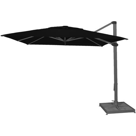 Parasol décentré Palestro Noir anti-UV inclinable carré 400x400cm