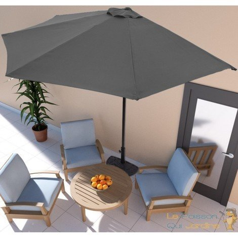 parasol demi lune terrasse balcon gris anthracite 270. Black Bedroom Furniture Sets. Home Design Ideas