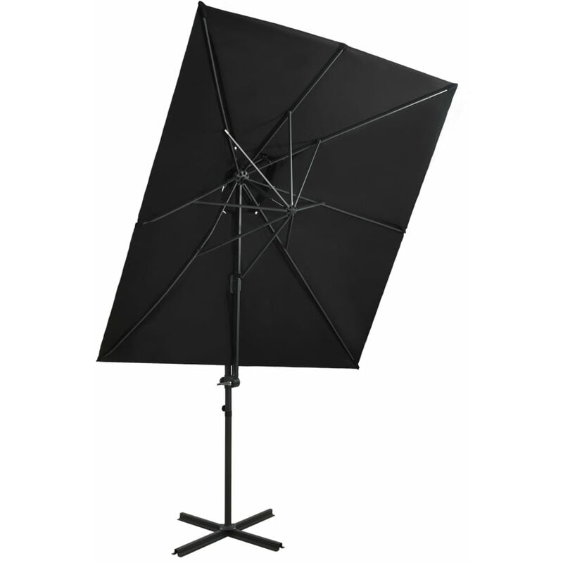 Parasol deporte a double toit Noir 250x250 cm