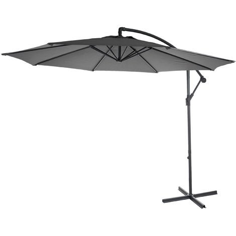 Parasol déporté Acerra, protection contre le soleil, Ø 3m inclinable, polyester/acier 11kg ~ gris sans socle