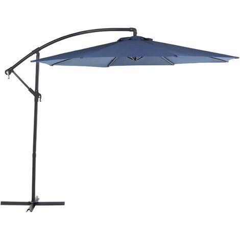 Parasol déporté avec toile bleu marine