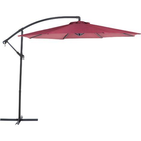 Parasol déporté avec toile rouge bordeaux