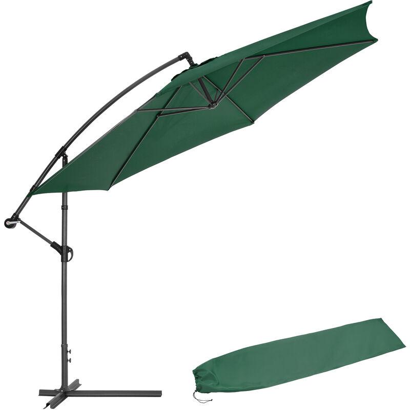 Parasol déporté Inclinable Vert Pied en Métal + Housse de protection
