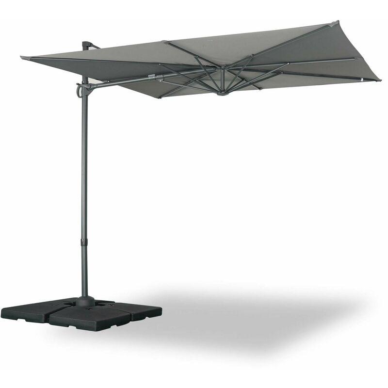 Parasol déporté carré 250 x 250 cm – Deauville – gris – parasol exporté, inclinable, rabattable et rotatif à 360°