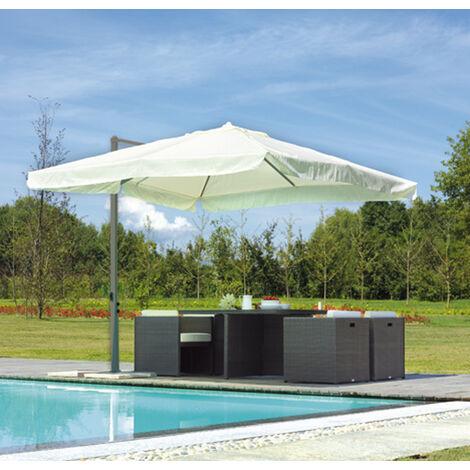 Parasol déporté carré 3 x 3 m mat anthracite mât aluminium 45 x 64 mm