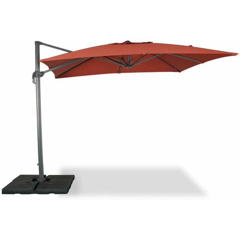 Parasol déporté carré 3 x 3m haut de gamme - Falgos - Terracotta - Parasol excentré inclinable, rabattable et rotatif à 360°.
