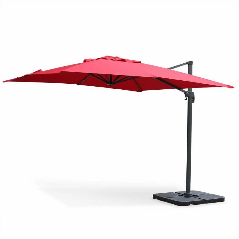 Parasol déporté carré 3 x 3m haut de gamme - Falgos - Rouge - Parasol excentré inclinable, rabattable et rotatif à 360°.