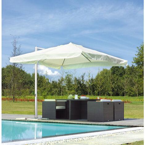 Parasol déporté carré coloris blanc 3 x 3 m - A USAGE PROFESSIONNEL