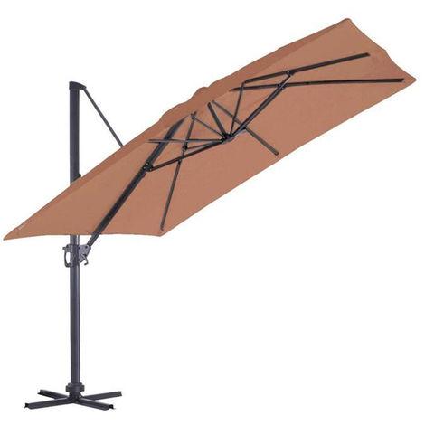Parasol Deporte carre en coloris Terracotta - 3 x 3 m -PEGANE-