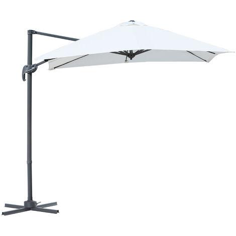 Parasol déporté carré inclinable manivelle avec pied en acier dim. 2,45L x 2,45l x 2,48H m alu. polyester haute densité crème