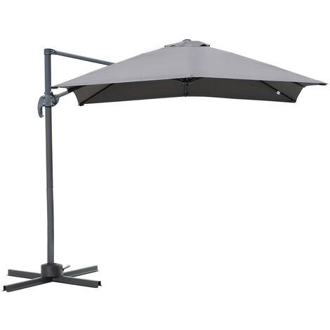 Parasol déporté carré inclinable manivelle avec pied en acier dim. 2,45L x 2,45l x 2,48H m alu. polyester haute densité gris