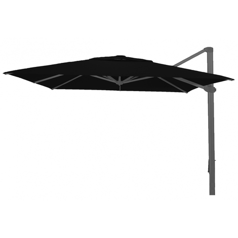 Parasol déporté carré Noir anti-UV avec ancrage au sol 400x400cm
