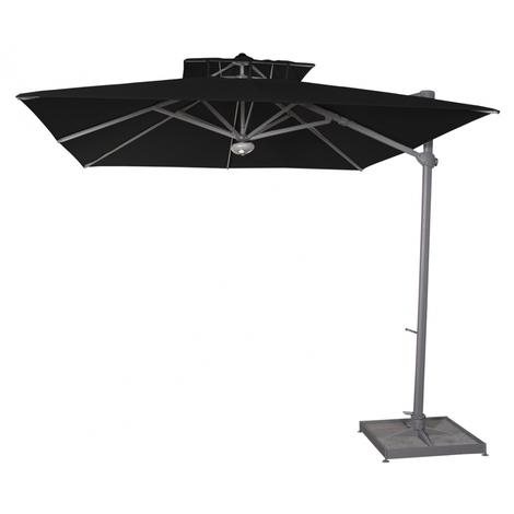 Parasol déporté carré Noir anti-UV avec socle à dalles 300x300cm