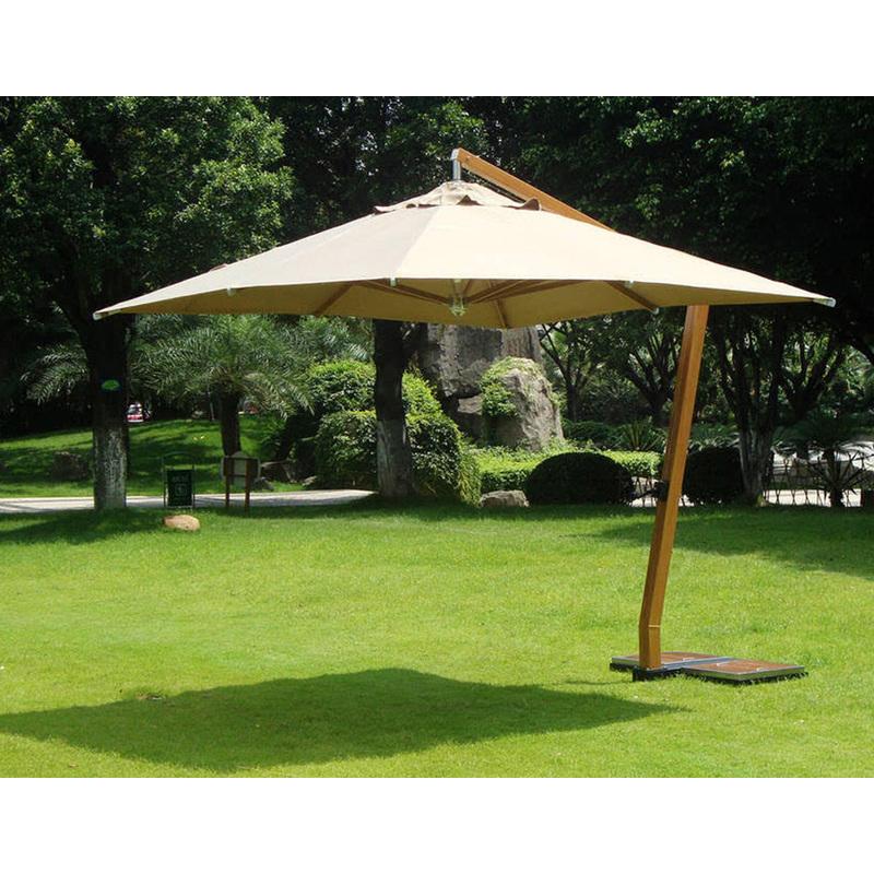 Parasol déporté carrée 3,5 x 3.5 m en bois et polyester 360 gr coloris sable