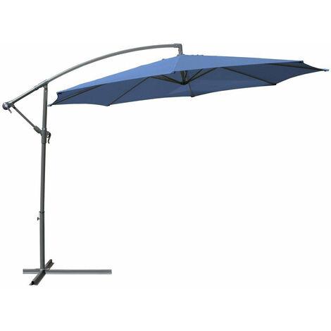 Parasol déporté de 3,5 m bleu + housse meuble jardin