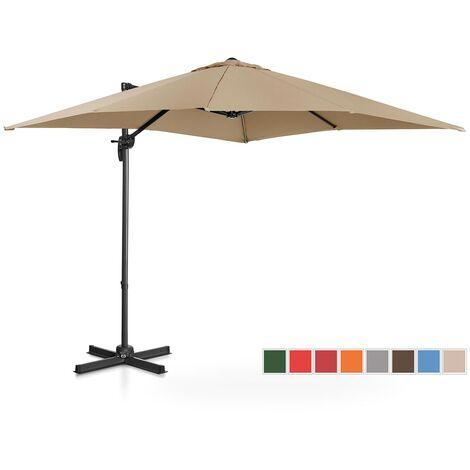Parasol Déporté De Jardin Terrasse Protection Solaire Uniprodo Taupe Carré