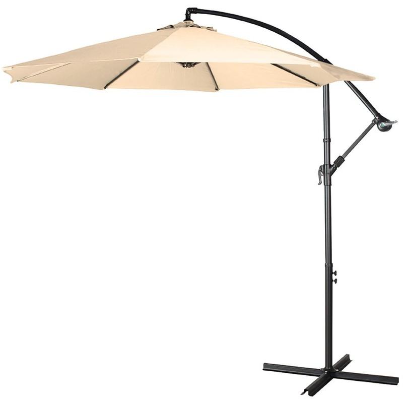 Parasol déporté de couleur beige - diamètre 3 mètres - OUTIROR