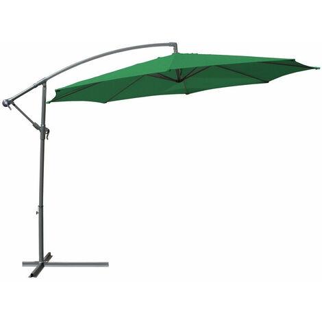 Parasol déporté diamètre 3,5 m vert meuble jardin