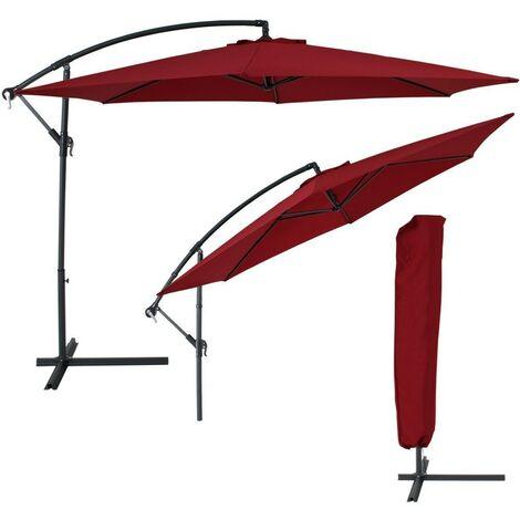 Parasol déporté diamètre 350 cm rouge avec Housse - Or