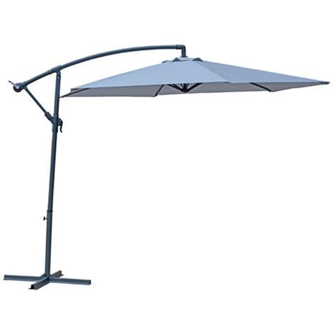 Parasol déporté en acier et polyester coloris gris - Dim : D.3 x H.2.40 m