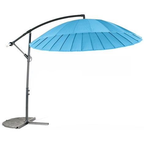 Parasol déporté en aluminium et polyester coloris bleu - Dim : D.3 m