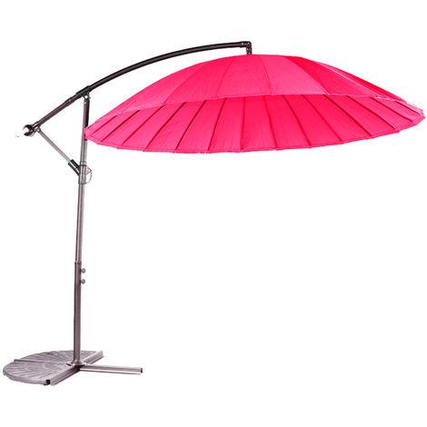 Parasol déporté en aluminium et polyester coloris fushia - Dim : D.3 m