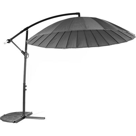 Parasol déporté en aluminium et polyester coloris gris foncé - Dim : D.3 m