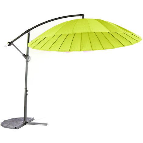 Parasol déporté en aluminium et polyester coloris vert - Dim : D.3 m