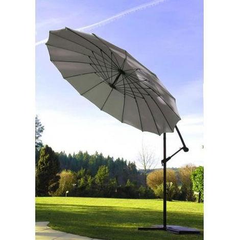 Parasol Deporte et Inclinable en coloris Gris perle - Diametre 300 cm -PEGANE-