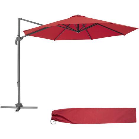 Parasol Déporté Excentré de Balcon à Pied Toile Inclinable en Aluminium 372 cm x 300 cm Rouge