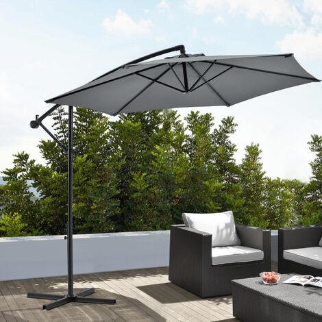 Parasol Déporté Hexagonal avec Manivelle Inclinable Robuste Toile Imperméable Protection UV Polyester Acier Diamètre 270 cm Gris