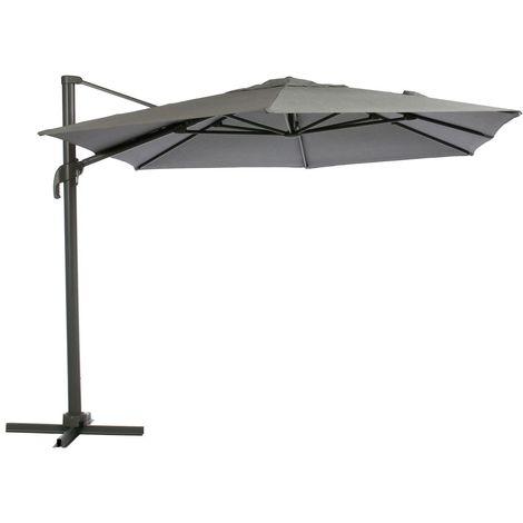 Parasol déporté héxagonale Eléa - Inclinable - L. 420 x l. 300 cm - Gris anthracite - Gris foncé