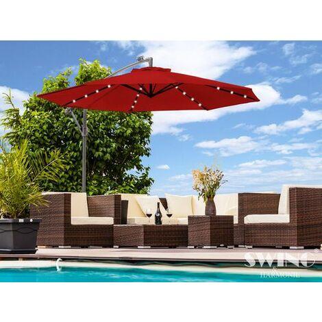 Parasol déporté inclinable diam 3,50 m éclairage led Swing & Harmonie® Rouge