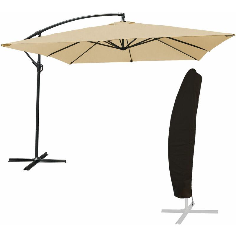 Parasol déporté MOLOKAI carré 2,7x2,7m beige + housse - Beige