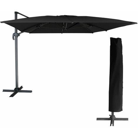Parasol déporté MOLOKAI rectangulaire 3x4m noir + housse - Noir