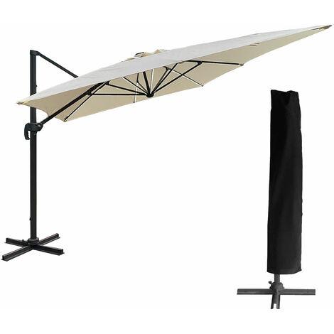 Parasol déporté MOLOKAI rectangulaire LED 3x4m beige + housse - Beige